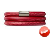 Endless Jewelry Red Leather 60cm/8.0inch Triple Leather Bracelet Steel Finish style: 1210760