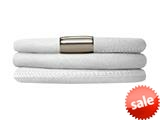 Endless Jewelry White Leather 60cm/8.0inch Triple Leather Bracelet Steel Finish style: 1210860