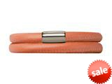 Endless Jewelry Coral Leather 36cm/7.0inch Double Leather Bracelet Steel Finish style: 1211036