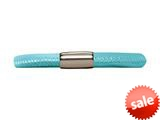 Endless Jewelry Light Blue Leather 19cm/7.5inch Single Leather Bracelet Steel Finish style: 1211119