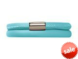 Endless Jewelry Light Blue Leather 36cm/7.0inch Double Leather Bracelet Steel Finish style: 1211136