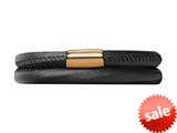 Endless Jewelry Black Leather 38cm/7.5inch Double Leather Bracelet Gold-Tone Finish style: 1250138
