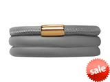 Endless Jewelry Grey Leather 63cm/8.5inch Triple Leather Bracelet Gold-Tone Finish style: 1250363