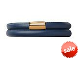 Endless Jewelry Blue Leather 38cm/7.5inch Double Leather Bracelet Gold-Tone Finish style: 1250438