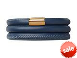 Endless Jewelry Blue Leather 57cm/7.5inch Triple Leather Bracelet Gold-Tone Finish style: 1250457
