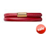 Endless Jewelry Red Leather 40cm/8.0inch Double Leather Bracelet Gold-Tone Finish style: 1250740