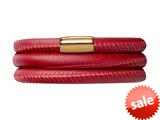 Endless Jewelry Red Leather 63cm/8.5inch Triple Leather Bracelet Gold-Tone Finish style: 1250763