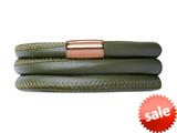 Endless Jewelry Green Leather 57cm/7.5inch Triple Leather Bracelet Rose Gold-Tone Finish style: 1270257