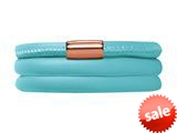 Endless Jewelry Light Blue Leather 63cm/8.5inch Triple Leather Bracelet Rose Gold-Tone Finish style: 1271163