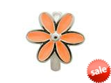 Endless Jewelry Coral Enamel Flower Silver Coral Enamel Rhodium Silver Finish style: 411552