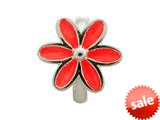 Endless Jewelry Red Enamel Flower Silver Red Enamel Rhodium Silver Finish style: 411553