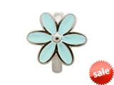 Endless Jewelry Light Blue Enamel Flower Silver Light Blue Enamel Rhodium Silver Finish style: 411555