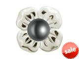 Endless Jewelry Big Black Pearl Flower Silver Black Pearl Rhodium Silver Finish style: 413502