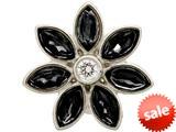 Endless Jewelry Big Black Flower Silver Black/white Cubic Zirconia Rhodium Silver Finish style: 414512