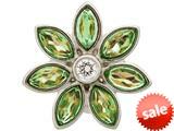 Endless Jewelry Big Peridot Flower Silver Peridot/white Cubic Zirconia Rhodium Silver Finish style: 414515