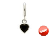 Endless Jewelry Black Enamel Heart Drop Silver Black Enamel Rhodium Silver Finish style: 432682