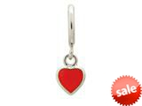 Endless Jewelry Red Enamel Heart Drop Silver Red Enamel Rhodium Silver Finish style: 432683