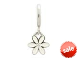 Endless Jewelry White Enamel Flower Drop Silver White Enamel Rhodium Silver Finish style: 432691