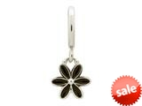 Endless Jewelry Black Enamel Flower Drop Silver Black Enamel Rhodium Silver Finish style: 432692