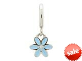 Endless Jewelry Light Blue Enamel Flower Drop Silver Light Blue Enamel Rhodium Silver Finish style: 432693