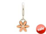 Endless Jewelry Coral Enamel Flower Drop Silver Coral Enamel Rhodium Silver Finish style: 432694