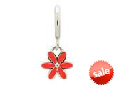 Endless Jewelry Red Enamel Flower Drop Silver Red Enamel Rhodium Silver Finish style: 432695