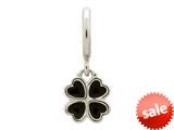 Endless Jewelry Black Clover Silver Black Enamel Rhodium Silver Finish style: 432702