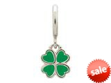 Endless Jewelry Green Clover Silver Green Enamel Rhodium Silver Finish style: 432703