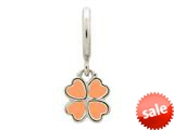 Endless Jewelry Coral Clover Silver Coral Enamel Rhodium Silver Finish style: 432704