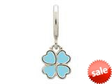 Endless Jewelry Light Blue Clover Silver Light Blue Enamel Rhodium Silver Finish style: 432705