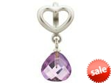 Endless Jewelry Amethyst Heart Grip Drop Silver Amethyst Crystal Rhodium Silver Finish style: 432735