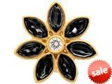 Endless Jewelry Big Black Flower Black/white Cubic Zirconia Gold-Tone Finish style: 515022