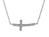 925 Sterling Silver Cubic Zirconia Sidways Cross Pendant on 18 Inch Chain style: 630136