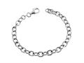 Sterling Silver 7.5 inch Long 6mm wide Polished Charm Bracelet