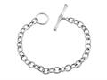 Sterling Silver 7.5 inch Long 6mm wide Polished Charm Bracelet with T-Lock