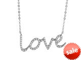 "925 Sterling Silver Cubic Zirconia ""Love"" Pendant on 18 Inch Chain style: 630138"