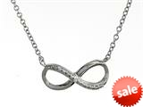 925 Sterling Silver Cubic Zirconia Infiniti Pendant Necklace on 18 Inch Chain style: 630139