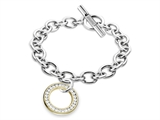Inori Gold Colored Cubic Bracelet with Zirconia (CZ) Circle Charm style: INBR12