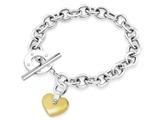Inori Stainless Steel Heart Charm Bracelet With Cubic Zirconia (CZ) style: INBR50