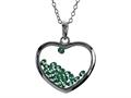 Floating May Birth Months Simulated Emerald Heart Shape Sterling Silver Glass Pendant Necklace