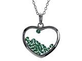 Floating May Birth Months Simulated Emerald Heart Shape Sterling Silver Glass Pendant Necklace style: JJ1001EM