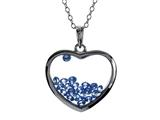 Floating September Birthstones Simulated Sapphire Heart Shape Sterling Silver Glass Pendant style: JJ1001SPH