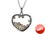 Floating Champagne Color Cubic Zirconia (CZ) Heart Shape Sterling Silver Glass Pendant Necklace style: JJ1001CH