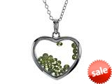 Floating August Birth Months Simulated Peridot Heart Shape Sterling Silver Glass Pendant Necklace style: JJ1001PR