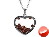 Floating July Birth Months Simulated Ruby Heart Shape Sterling Silver Glass Pendant style: JJ1001RB