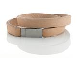 Tan Leather Double Wrap Bracelet With Magnetic Stainless Steel Clasp style: JK208474BG