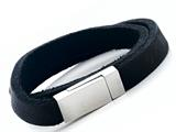 Black Leather Double Wrap Bracelet With Magnetic Stainless Steel Clasp style: JK20847BL