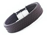 Brown Braided Leather Bracelet With Magnetic Stainless Steel Clasp style: JK680312BR