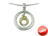 Mother and Child® Sterling Silver Circle Pendant Necklace and 14kt Yellow Gold Charm by Janel Russell style: M229SY41MC