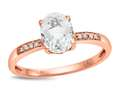 LALI Classics 14k Rose Gold White Topaz Oval Ring